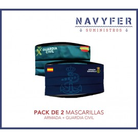Pack 2 mascarillas ARMADA + GUARDIA CIVIL