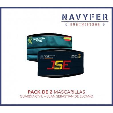 Pack 2 mascarillas GUARDIA CIVIL + JUAN SEBASTIAN DE ELCANO
