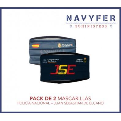 Pack 2 mascarillas POLICÍA NACIONAL + JUAN SEBASTIAN DE ELCANO